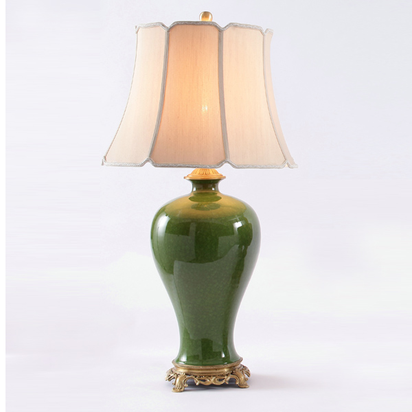 golden copper and green glazed ceramic table lamp, energy saving and environmental friendly exquisite table light(China (Mainland))