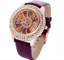 Luxury Elegant Women Watches Fashion Women Genuine Leather Diamond Table Dress Watch Lady's Wristwatch 2015 rhinestone watches