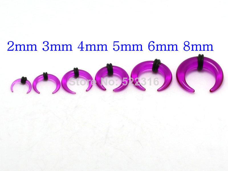 purple 2mm-8mm 600pcs acrylic buffalo horn pincher ear tapers plug body piercing jewelry wholesale mix lots<br><br>Aliexpress