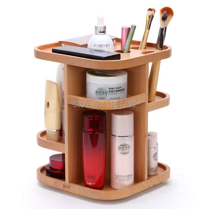 free shipping wooden storage bin jewelry creative gift box home fashion Cosmetic Rotating multifunction office desk organizer(China (Mainland))
