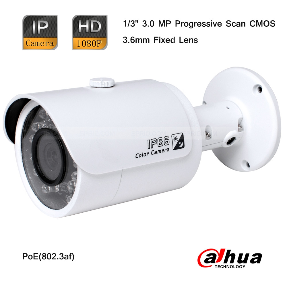 Dahua 3 Megapixel Full HD Network 1080P Outdoor Small IR-Bullet PoE IP Camera<br>