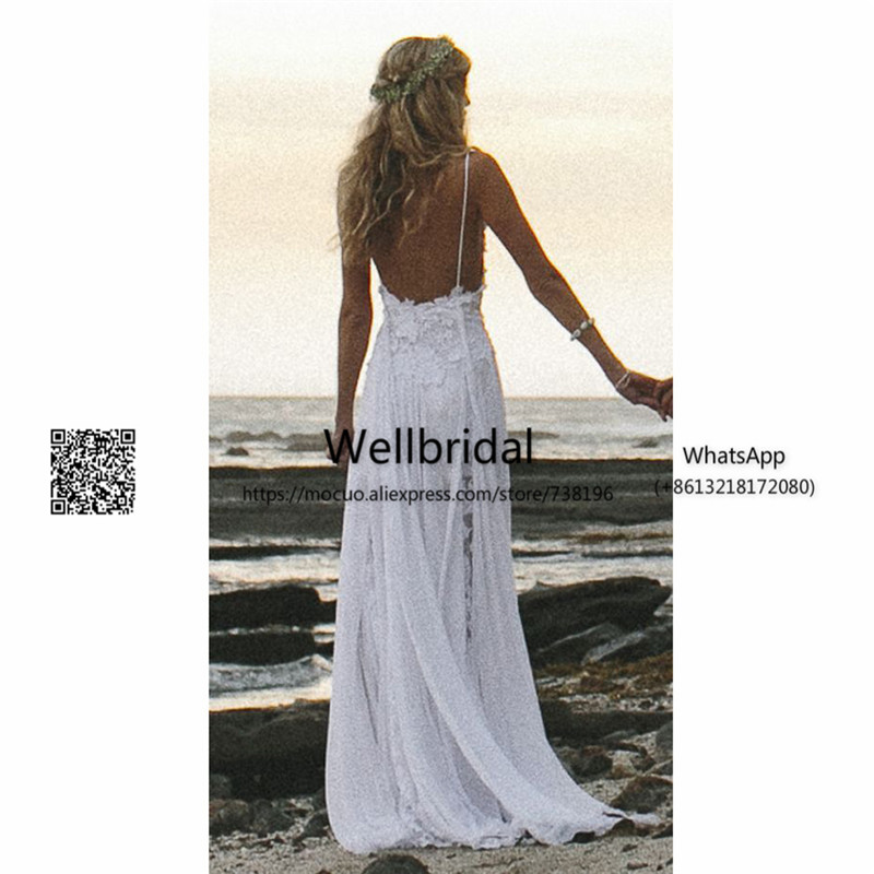 2017 Simple Spaghetti White Lace Side Slit Wedding Dresses For Beach Wedding 3