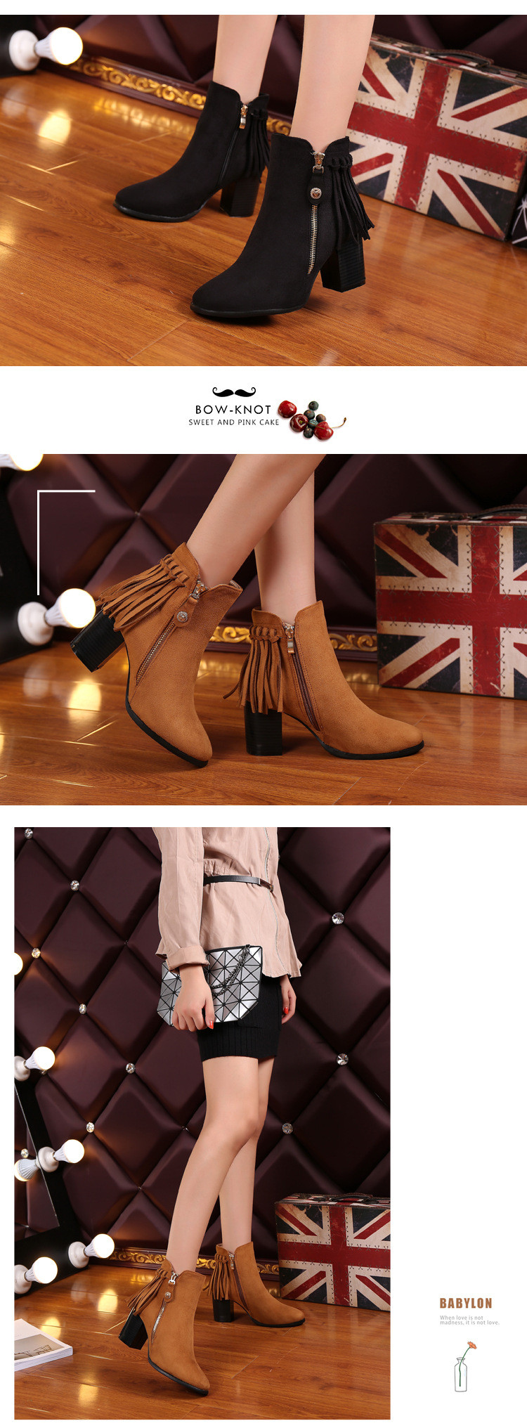 2016 Autumn New Women's Cheap Chunky High Heeled Ankle Booties Naked Female Fringe Boots Winter Work Shoes Office