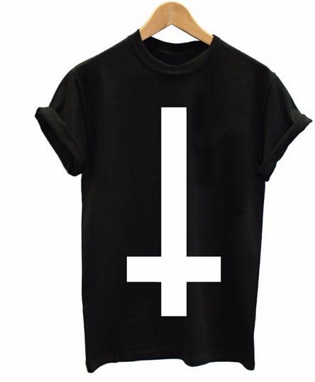 Inverted Cross Printed Men T Shirt Religion Swag Hipster Girl Retro Tshirt Cotton Custom Tee Shirt For Men Women Plus Size(China (Mainland))