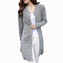 Women Long Cardigan 2016 Autumn Winter Plus Size Korean Style  Beadings Pearls Long Knitted Sweater Outwear WZL666(China (Mainland))