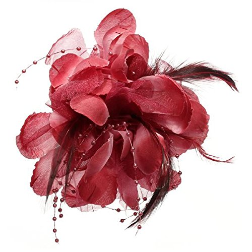 2015 Best Wine red flowers beaded feather headdress flower brooch 160 * 100mm(China (Mainland))