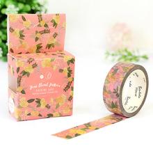 1.5cm 7m Vintage flower design washi tape Adhesive DIY Scrapbook Sticker Label Masking home decor - peacock fashion store