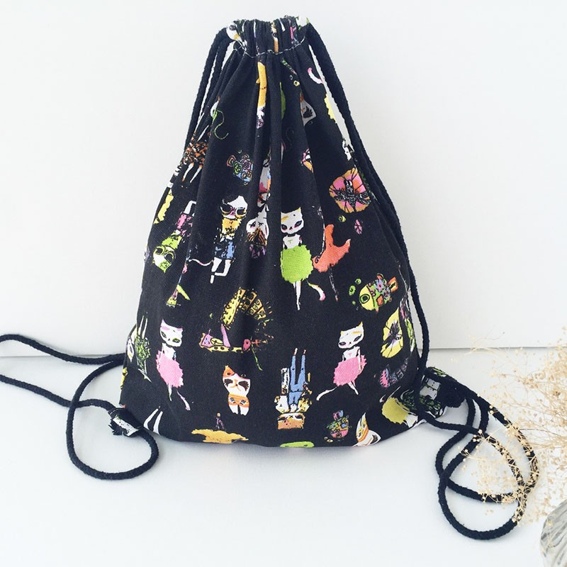 Cartoon Lovely Cat Style Drawstring Backpack Women Storage Bags Girls Sport Travel School Bag for Shoes Shoulders Bags Christmas