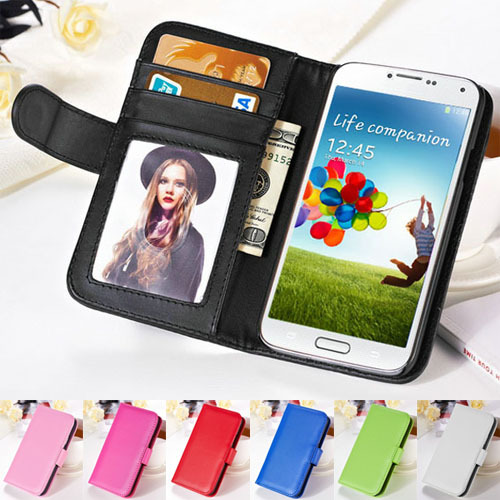 Fashion Wallet S4 Flip Style PU Leather Case For Samsung Galaxy S4 i9500 Phone Bag With Stand & Card Holder Photo Frame Cover(China (Mainland))