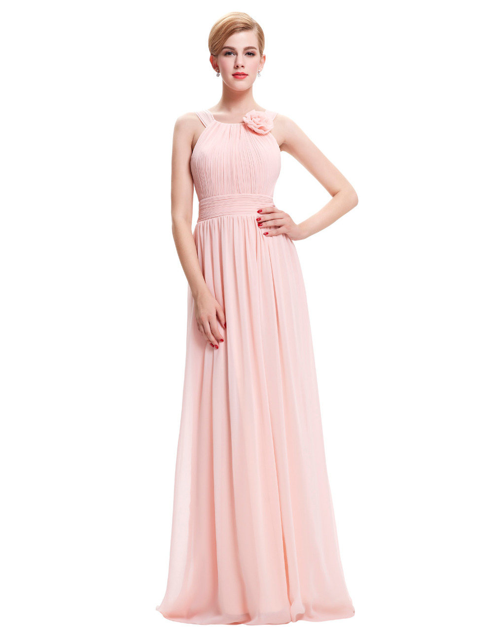 Ladies Flower Applique Pink Evening Dresses Long 2016