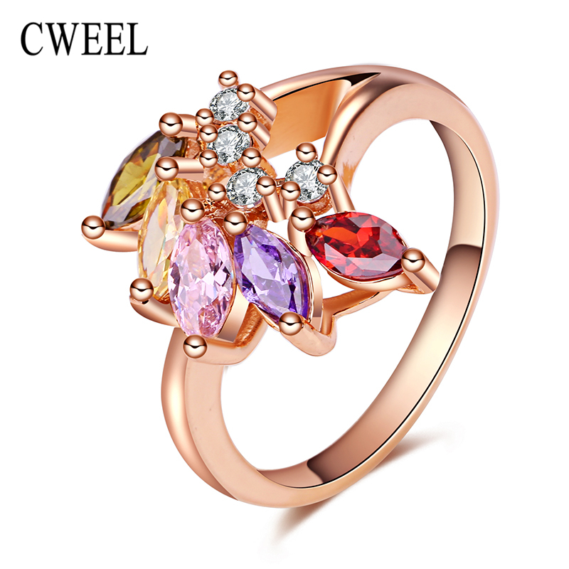 African Crystal Beads Wedding Rose Gold Plated Rings For Women Bridal Party Holiday CZ Diamond Gift Bridal Party Ring Jewellery(China (Mainland))