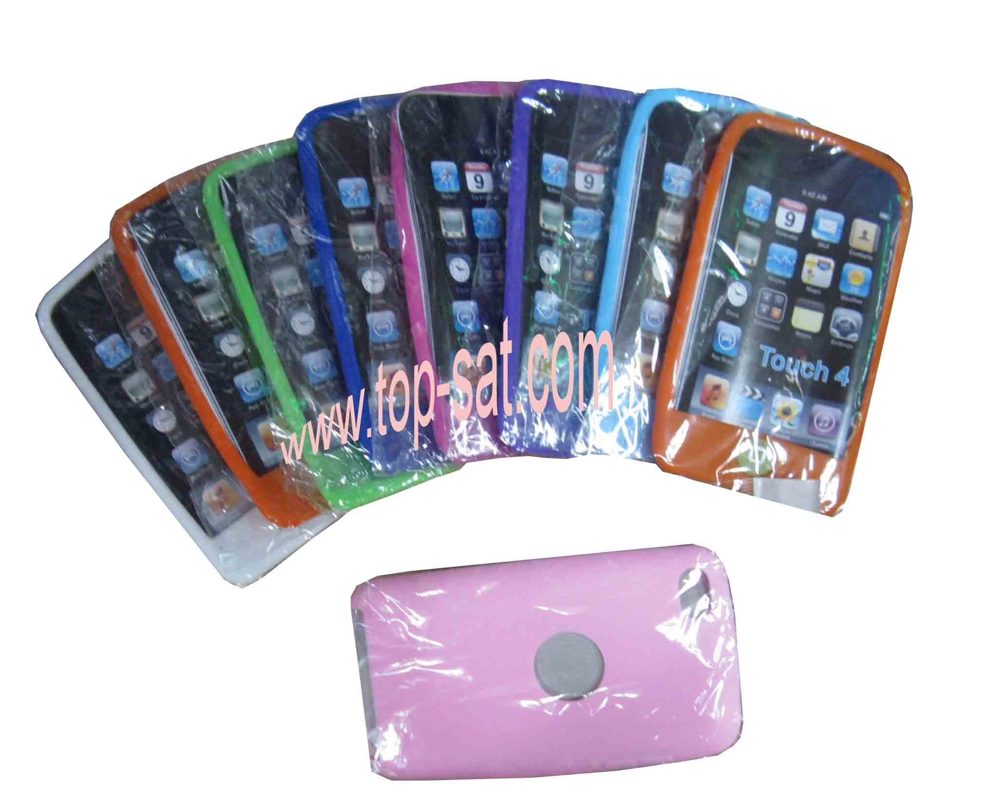 wholesale silicone back case shell ipod touch 4 free shipping(China (Mainland))