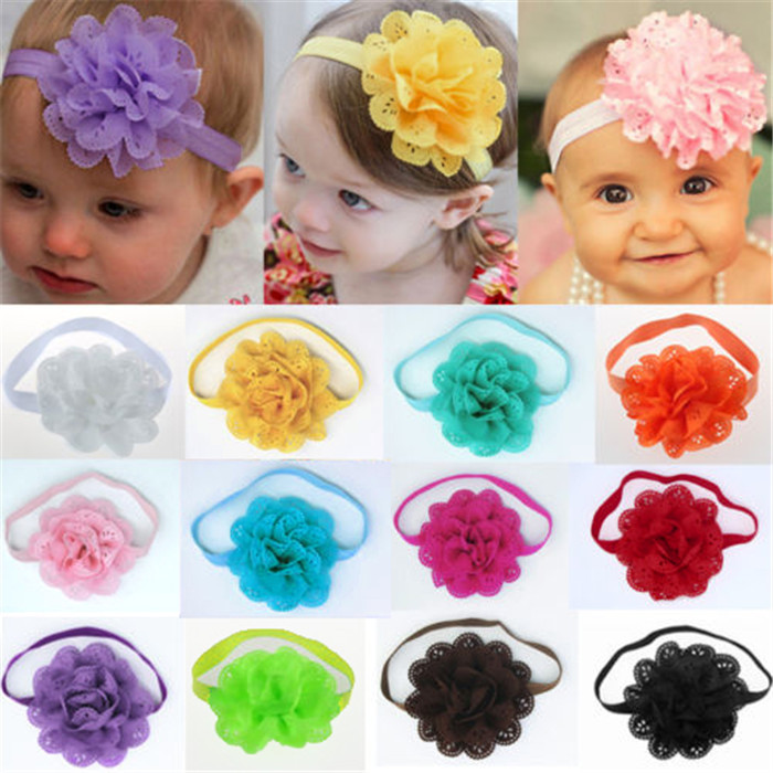 Low Prices Baby's Headwear Accessories Mesh Chiffon Flower Infant Hair Accessories Girls Headband Toddler Hair Jewelry(China (Mainland))