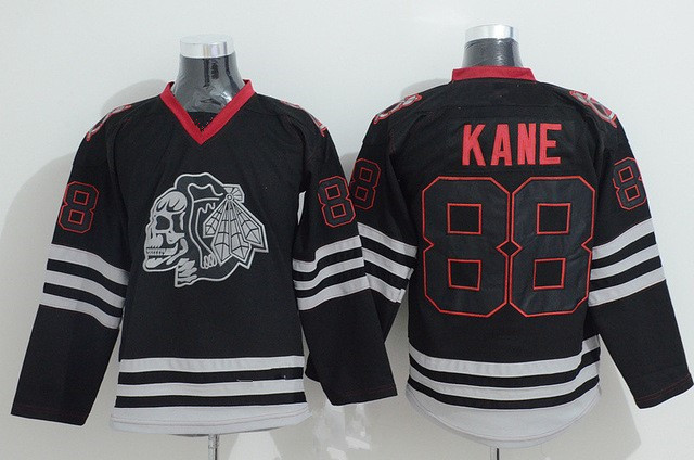 Patrick Kane Jersey Skull Chicago Blackhawks Hockey Jerseys 88 Skull Heads Black Ice Patrick Kanes Authentic Stitched Jersey
