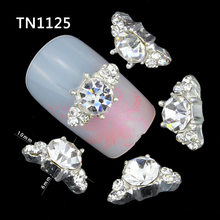 10 Pcs 3D Nail Art Decorations Diy Glitter Silver Alloy Charm Clear Rhinestones Crystal Marquise For Nails Tools