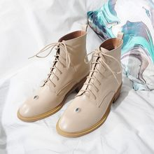 MLJUESE 2018 frauen kuh leder stiefeletten lace up runde kappe high heels schwarz farbe herbst frühling reiten stiefel größe 33-43(China)