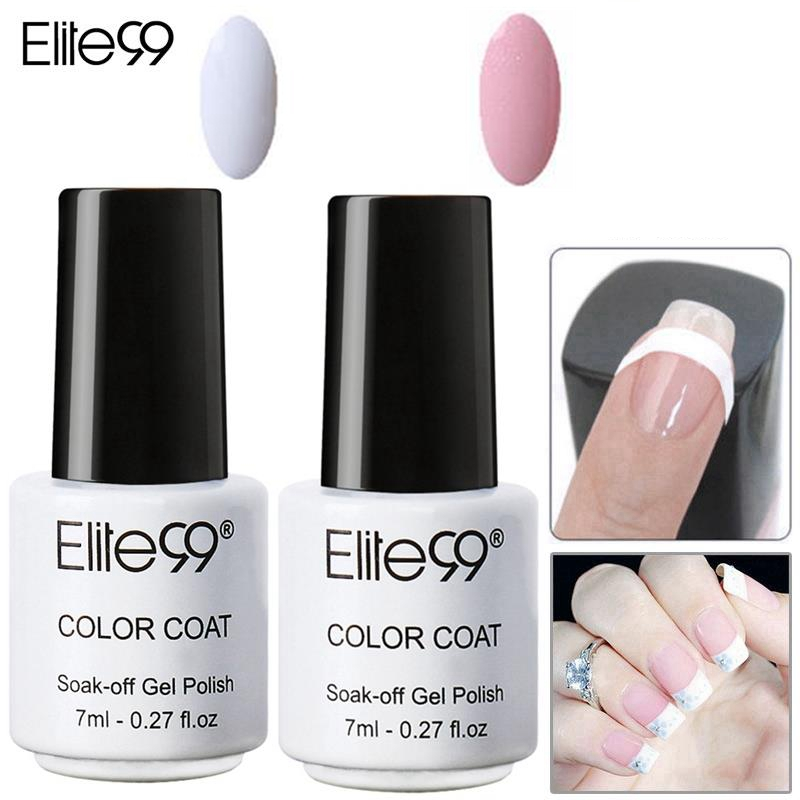 Elite99 Colored Avaliable UV Nail Gel Polish Set Pink White with Tip Guides Nail Polish French Manicure Set Cured by UV Lamp(China (Mainland))