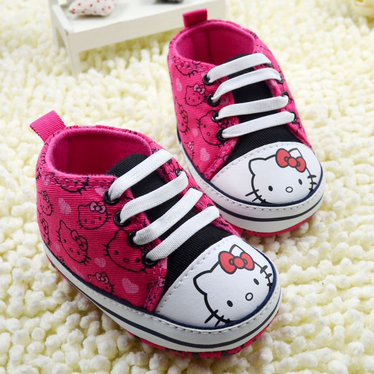 Hot New Fashion Baby Shoes Hello Kitty Toddler Antislip Soft Sole Lace-Up Baby Sport Shoes First walkers(China (Mainland))