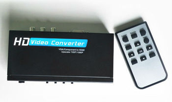 Premium VGA/YPBPR TO HDMI CONVERTER Box with Audio&USB media function for pc laptop to HDTV with remote control