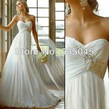 Abito da sposa 2015 nuovo stock us size 2 a 22 bianco/avorio applique abiti da sposa vestido novia playa robe mariage(China (Mainland))