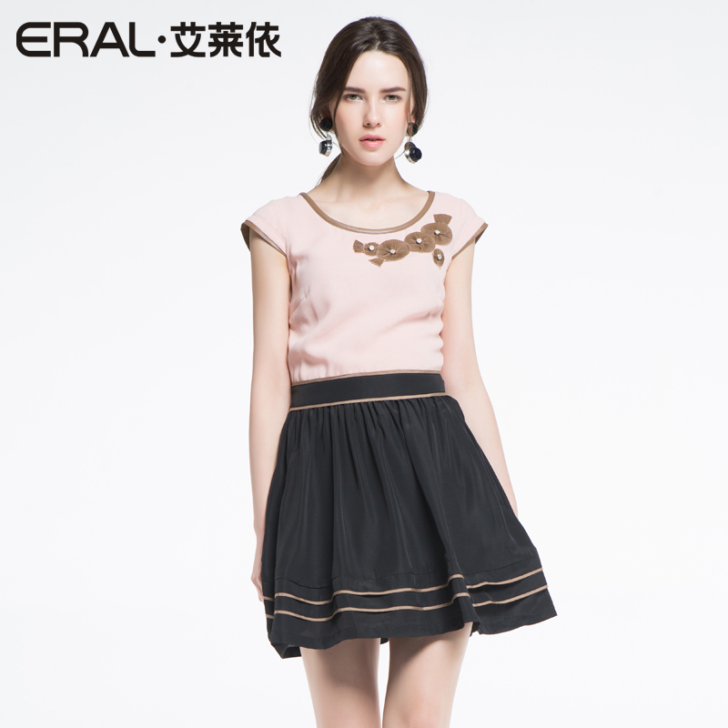 ERAL 2014 Summer New Arrival Womens Elegant Casual Patchwork  One-piece Dress with Appliques D13DP145Одежда и ак�е��уары<br><br><br>Aliexpress