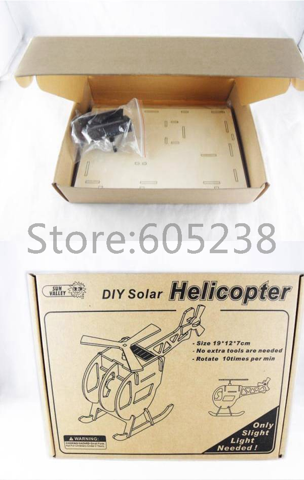 EMS Free Shipping Wholesale 56Pieces Creative Eco-friendly DIY Puzzle Solar Powered Toy DIY Helicopter Solar Wooden Toy(China (Mainland))