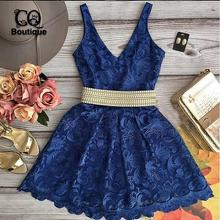 New Fashion Women 2016 Summer Vestidos V-Neck Chiffon Sleeveless Floral Print Lace Sexy Party Mini Dress Vestido de festa(China (Mainland))