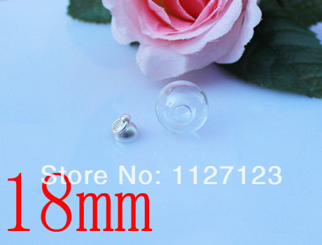 50sets 18mmGlass Ball Bottle With Silver Metal Cap Empty Containers,Bubbles globe pendant(China (Mainland))