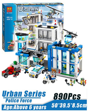 2016 Bela Brand 890pcs 10424 City Police Station building blocks Action Figures set helicopter jail cell Compatible with Legoe