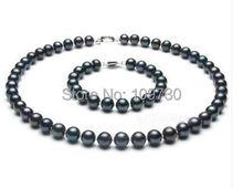 Jewelry 00723 SET9-10MM TAHITIAN BLACK PEARL NECKLACE BRACELET(China (Mainland))