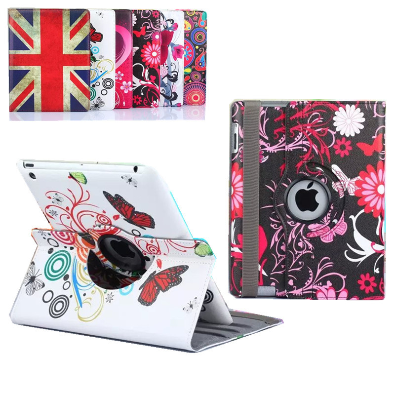 Floral Tablet Cases ipad 3 2 360 Rotating Flower Butterfly Flip Stand PU Leather Case Cover Apple ipad 2 3 ipad 4 9.7