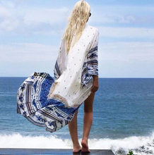 Buy 2017 Fashion Sexy dress Pareo women printed Cardigan Chiffon Dress Floral Long-sleeve Summer beach Long boho Dress beach kimono for $10.14 in AliExpress store