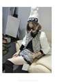 2016 New Arrival Brand Design Fashion Women 2 Pieces Sets Real Rabbit Fur Sleeve Lace Cotton