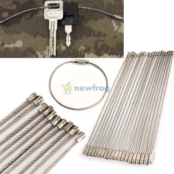20PCS/set Stainless Steel Wire Keychain Cable Key Ring for Outdoor Hiking S7NF(China (Mainland))