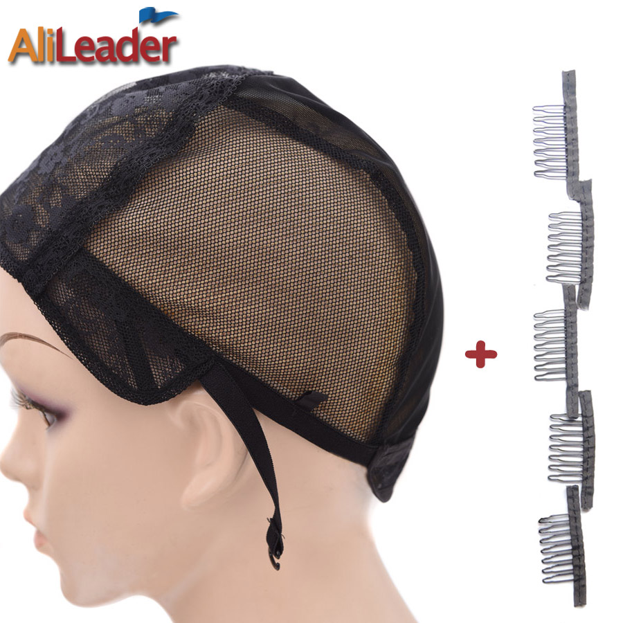 Top Rated Double Lace Mesh Weave Wig Cap With Combs Clips For Wig Making XL/L/M/S Wig Net Cap Weaving Cap And Combs (1+5)Pcs/Lot(China (Mainland))