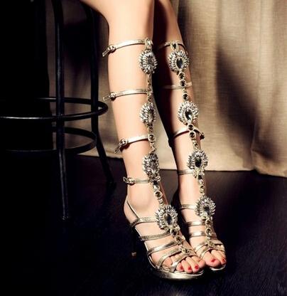 Здесь можно купить  The new summer fashion leather shoes diamond ladies sandals high heel strap sandals diamond leather boots summer woman cylinder  Обувь