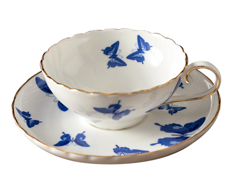 Jsaron Porcelain Blue Butterfly Tea Coffee Cup With Spoon