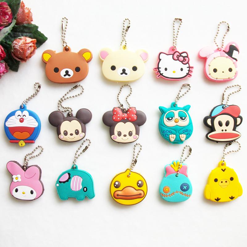 Creative Gift Cartoon Animal Silicone Hello Kitty Mickey Key Cover Key Cap Cute Keychain Women Key Chain Key Ring Key Holder(China (Mainland))