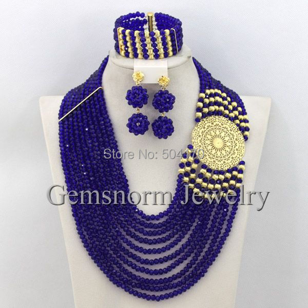 Royal Blue Statement Necklace Nigerian Wedding African Beads Jewelry Set Costume Jewellry Sets 18K Gold Plated Free Ship GS505(China (Mainland))