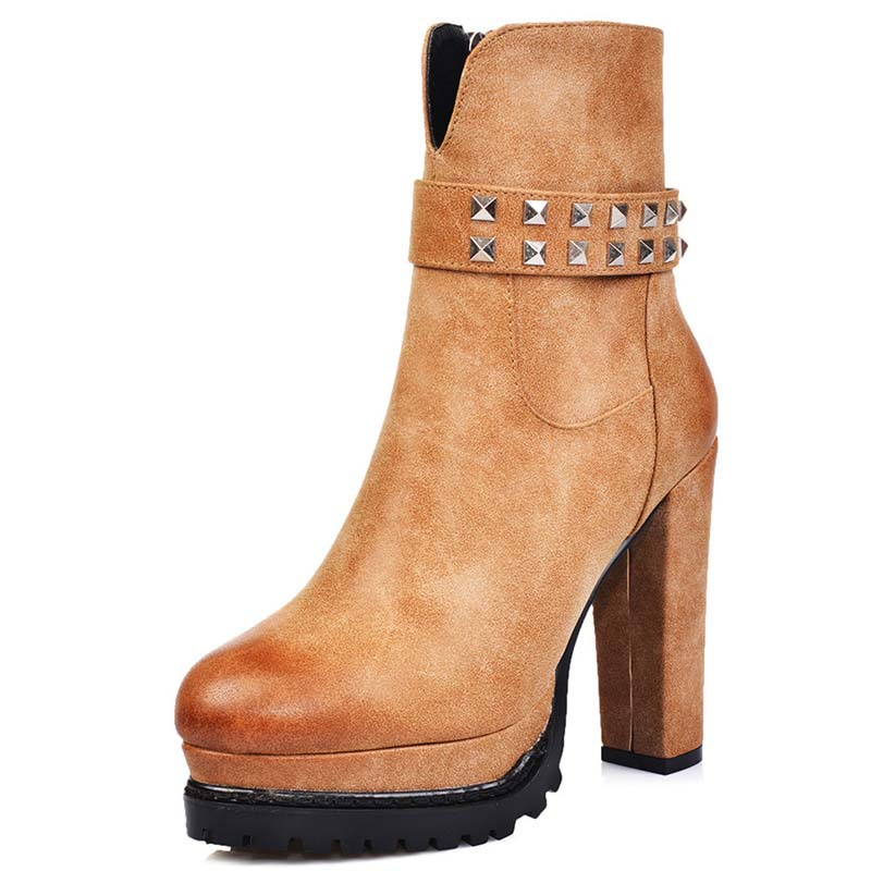 Fashion Boots for Women Autumn and Winter Short Shoes Morden Round Toe Ankle Boots Metal Rivet Elegant High Heels Boots <br><br>Aliexpress