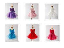 2015 hot selling elegant baby princess dress flower girls dress kids girls wedding party wear children dress 6 colors(China (Mainland))