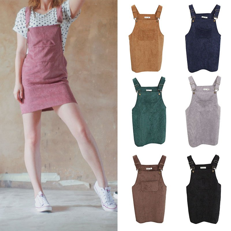 Free Shipping Women Fashion Summer Retro Corduroy Suspender Sundress Overall Vest Natural Dress high quality