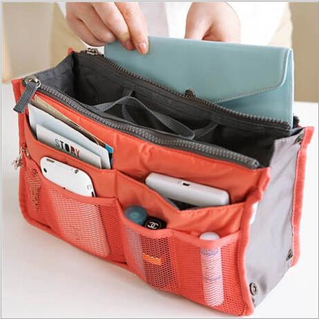 Women Men Fashion Organizer bags Cosmetic Casual Travel bag Storage in bag multi functional Lady handbag bolsas(China (Mainland))