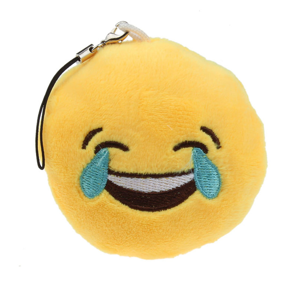 Vehicle Car Accessories Cute Emoji Smiley Emoticon Laugh To Tears Key Chain Soft Toy Gift Pendant Bag Accessory(China (Mainland))