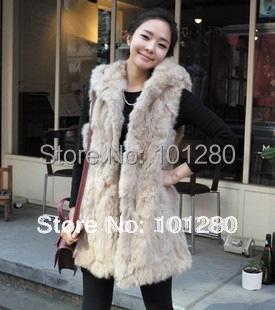 FREE SHIPPING 2012 autumn and winter women fashion imitation rabbit fur with a hood vest fur coat medium-long vest   T267