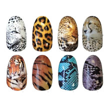 Hot-sale 8sheets Tiger Snakeskin Sexy Leopard Pattern Water Decals Transfer Stickers on nails Nail Art Fingernails Decoration