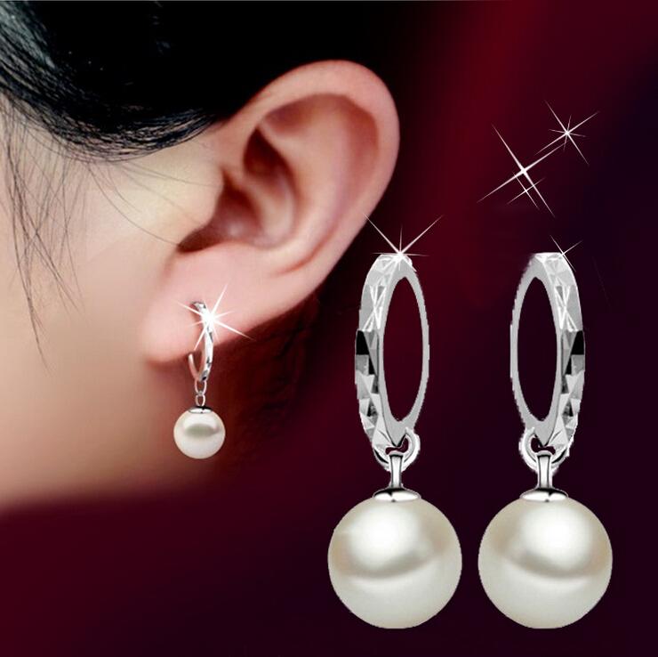 women S925 pure silver Glass shell pearl long earrings Ear ring Dangle Earrring(China (Mainland))