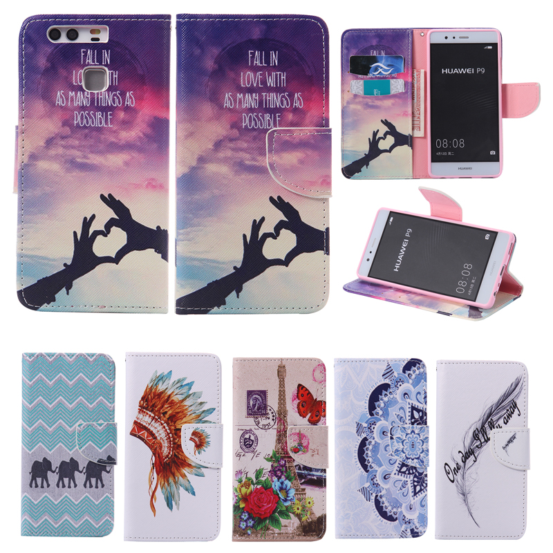 Luxury wallet Style Leather Flip Case for Huawei P9 P9 Lite font b Phone b font