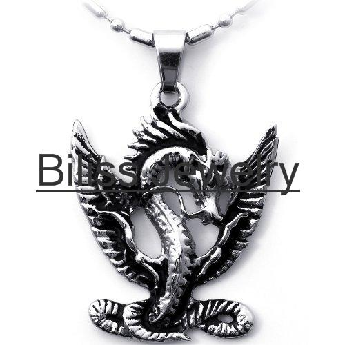 2015 Men Jewelry Unique Style Flying Dragon Pendant Necklace in Stainless Steel steampunk Jewlery collares(China (Mainland))