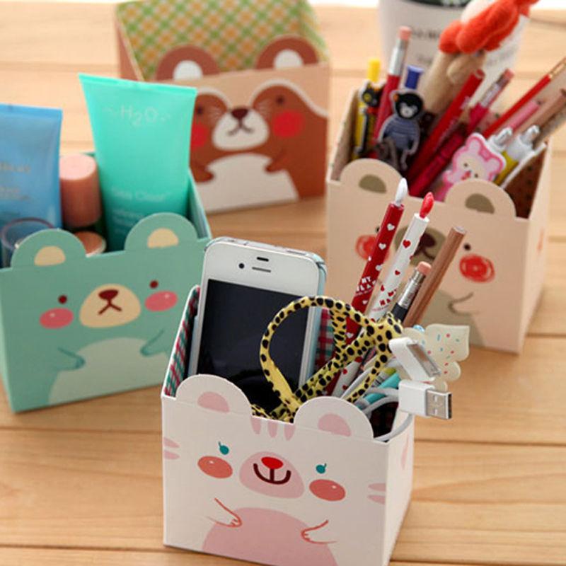 Free Shipping Cute Cat Cartoon Paper Stationery Makeup Cosmetic Desk Organizer Storage Box DIY(China (Mainland))